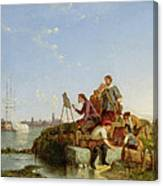 Artist At His Easel And Shipping Beyond Canvas Print