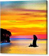 Artistic Conception Eagle Sundown Canvas Print