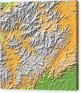 Artistic Map Of Southern Appalachia Canvas Print