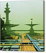 Artwork Of An Alien City On A Circuit Board Canvas Print