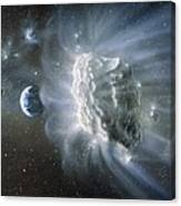 Artwork Of Comet Approaching Earth Canvas Print