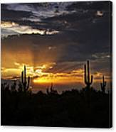 As The Sun Sets In The West  Canvas Print