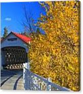 Ashuelot Covered Bridge And Forsythia Canvas Print