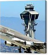 Asiana 747-400 And Lax Tower Canvas Print