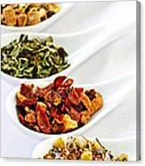 Assorted Herbal Wellness Dry Tea In Spoons Canvas Print