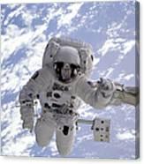 Astronaut Gernhardt On Robot Arm Canvas Print