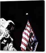 Astronaut Stands Next To The American Canvas Print