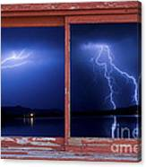 August Storm Red Barn Picture Window Frame Photo Art View Canvas Print