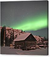 Aurora Borealis Over A Cabin, Northwest Canvas Print