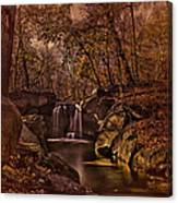 Autumn At The Waterfall In The Ravine In Central Park Canvas Print