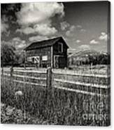 Autumn Barn Black And White Canvas Print