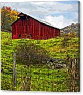 Autumn Barn Painted Canvas Print