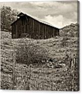 Autumn Barn Sepia Canvas Print
