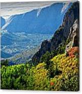 Autumn Below Evergreen Hills  Canvas Print