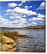 Autumn Lake Shore Canvas Print