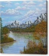 Autumn Mountains Lake Landscape Canvas Print
