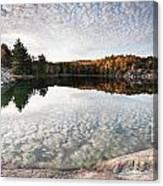 Autumn Nature Lake Rocks And Trees Panorama Canvas Print