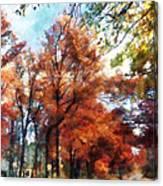 Autumn Street Perspective Canvas Print