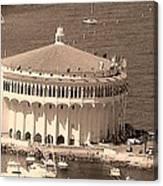 Avalon Casino In Sepia Canvas Print