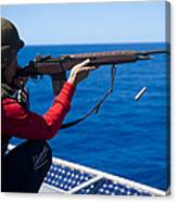 Aviation Ordnanceman Fires An M-14 Canvas Print