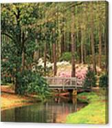 Azaleas And Footbridge Canvas Print