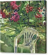 Azaleas And Lawn Chairs Canvas Print