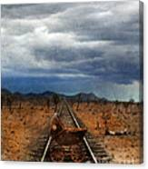 Baby Buggy On Railroad Tracks Canvas Print