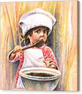 Baby Cook With Chocolade Cream Canvas Print