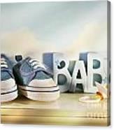 Baby Denim Shoes Canvas Print