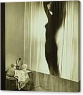 Back-lit Silhouette Of Nude Woman Canvas Print