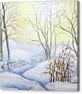 Backyard Winter Scene Canvas Print