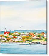 Bakers Island Lighthouse In Autumn Watercolor Painting Canvas Print