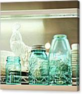 Ball Jars And White Rooster Canvas Print