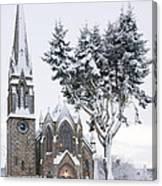 Ballater Church In Snow Canvas Print