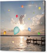 Balloons Floating Over Still Lake Canvas Print