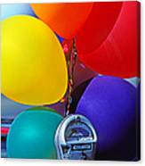 Balloons Tied To Parking Meter Canvas Print