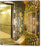 Bank Vault Doors Leading To Safety Deposit Boxes Canvas Print