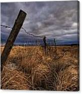 Barbed Wire Fence Posts With Dark Sky Canvas Print