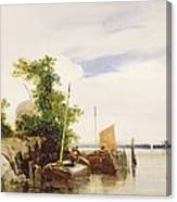 Barges On A River Canvas Print