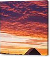 Barley Fields, Barn, Church Canvas Print