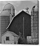 Barn And Silos In Black And White Canvas Print