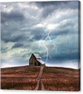 Barn In Lightning Storm Canvas Print