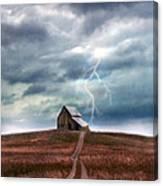 Barn In Lightning Storm Canvas Print