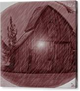 Barn Snow Globe Canvas Print
