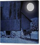 Barn Under A Full Moon Canvas Print