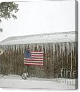 Barn With American Flag During Blizzard Of '05 On Cape Cod Canvas Print