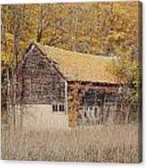 Barn With Autumn Leaves Canvas Print