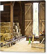 Barn With Hay Bales And Farm Equipment Canvas Print
