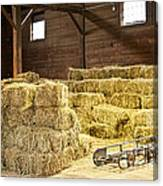 Barn With Hay Bales Canvas Print