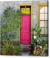 Barrio Door Pink And Gray Canvas Print
